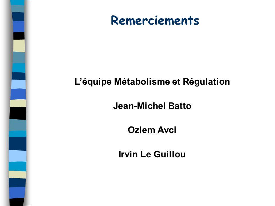 L'équipe Métabolisme et Régulation