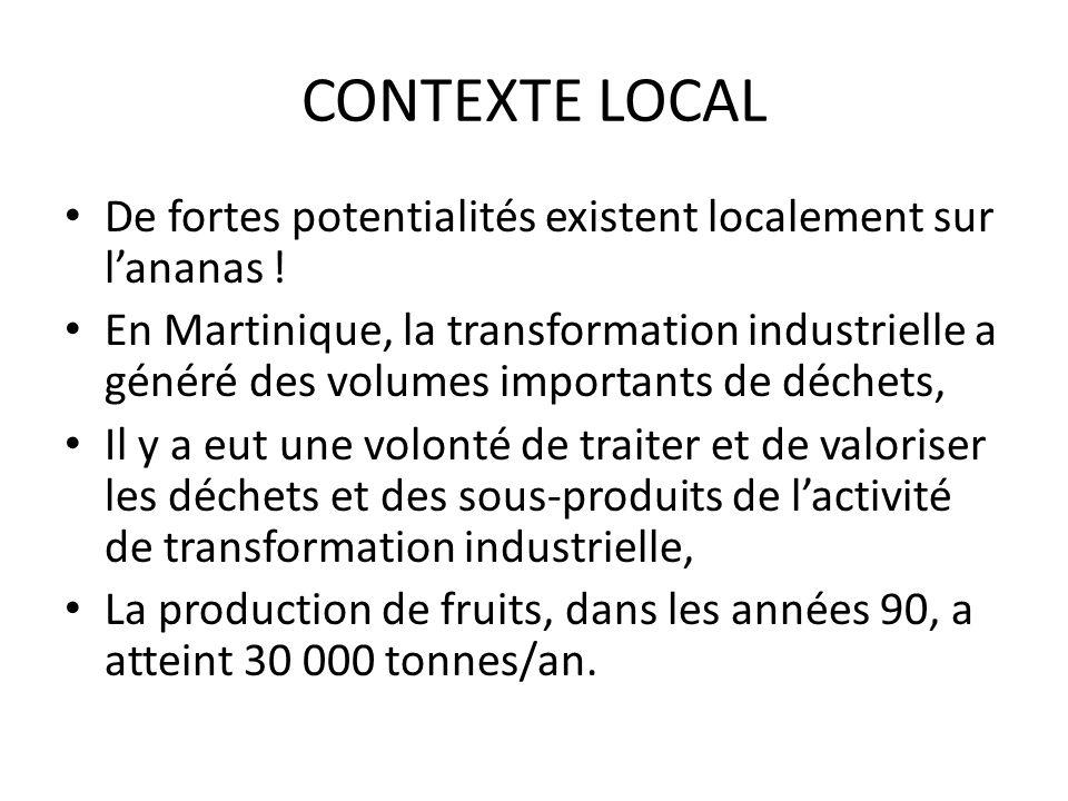 CONTEXTE LOCALDe fortes potentialités existent localement sur l'ananas !