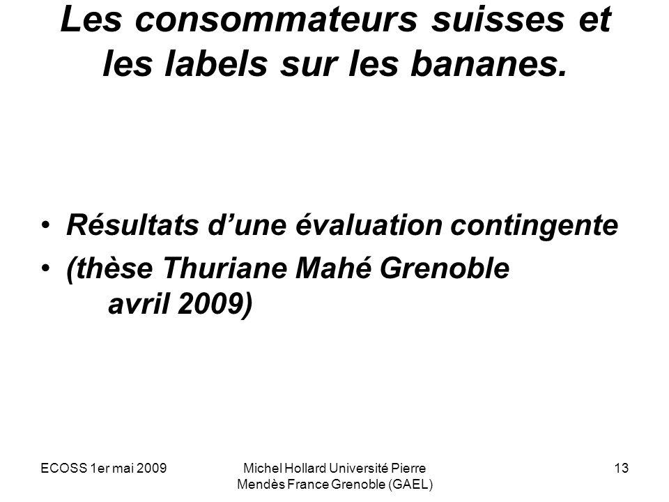 Les consommateurs suisses et les labels sur les bananes.