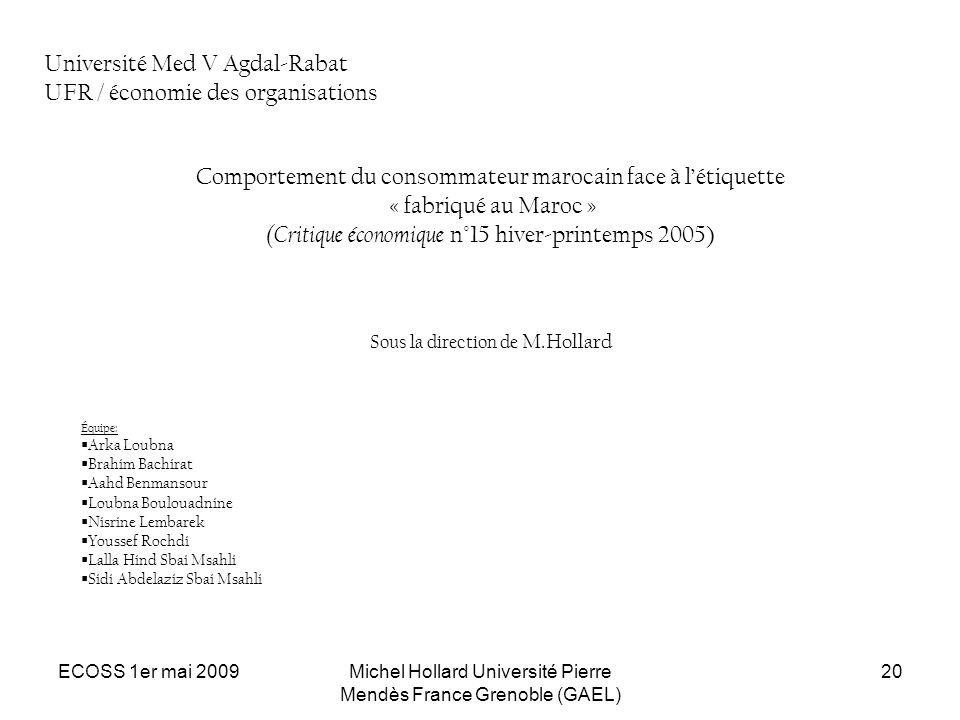 Université Med V Agdal-Rabat UFR / économie des organisations
