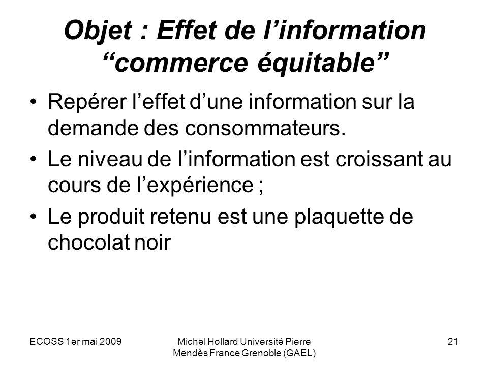 Objet : Effet de l'information commerce équitable