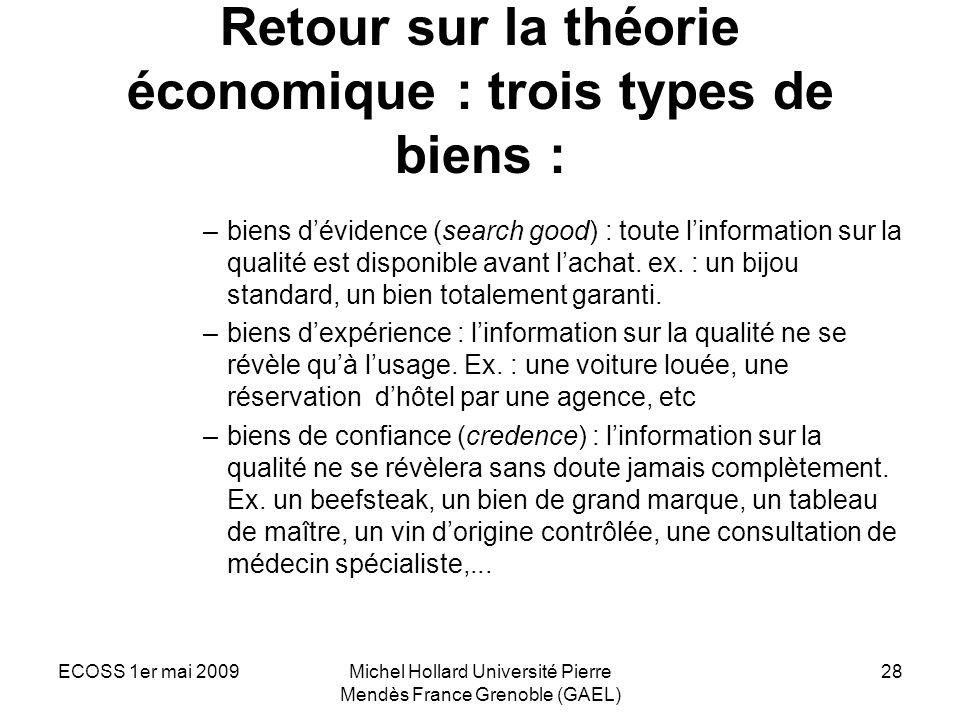 Retour sur la théorie économique : trois types de biens :