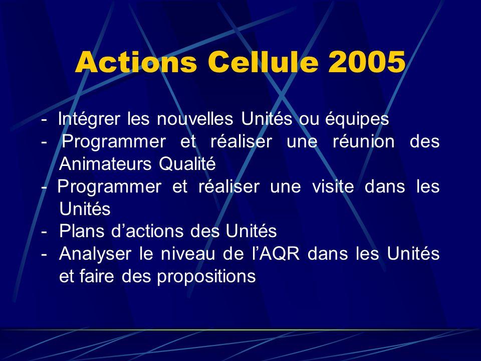 Actions Cellule 2005 - Intégrer les nouvelles Unités ou équipes