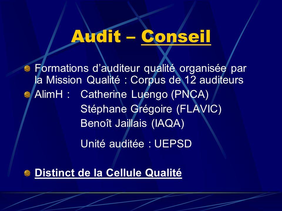 Audit – Conseil Formations d'auditeur qualité organisée par la Mission Qualité : Corpus de 12 auditeurs.
