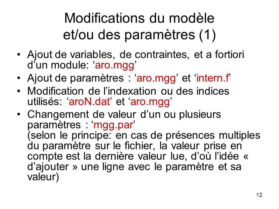 Modifications du modèle et/ou des paramètres (1)