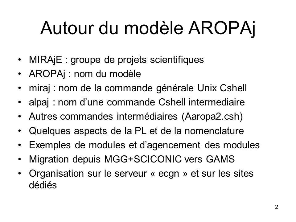 Autour du modèle AROPAj