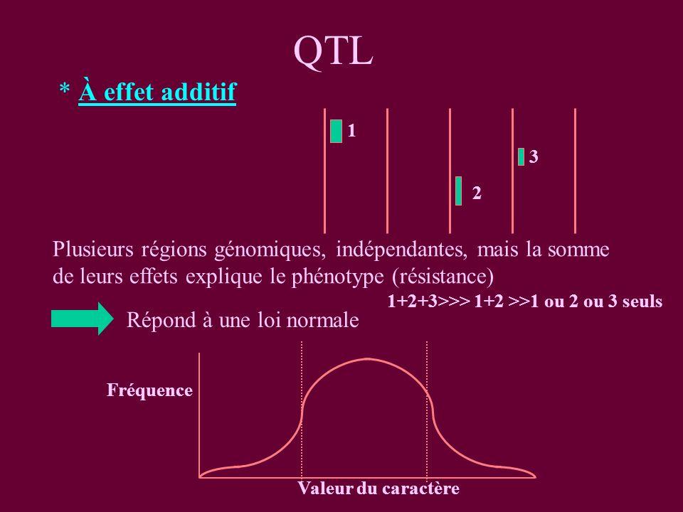 QTL * À effet additif. 1. 3. 2. Plusieurs régions génomiques, indépendantes, mais la somme de leurs effets explique le phénotype (résistance)