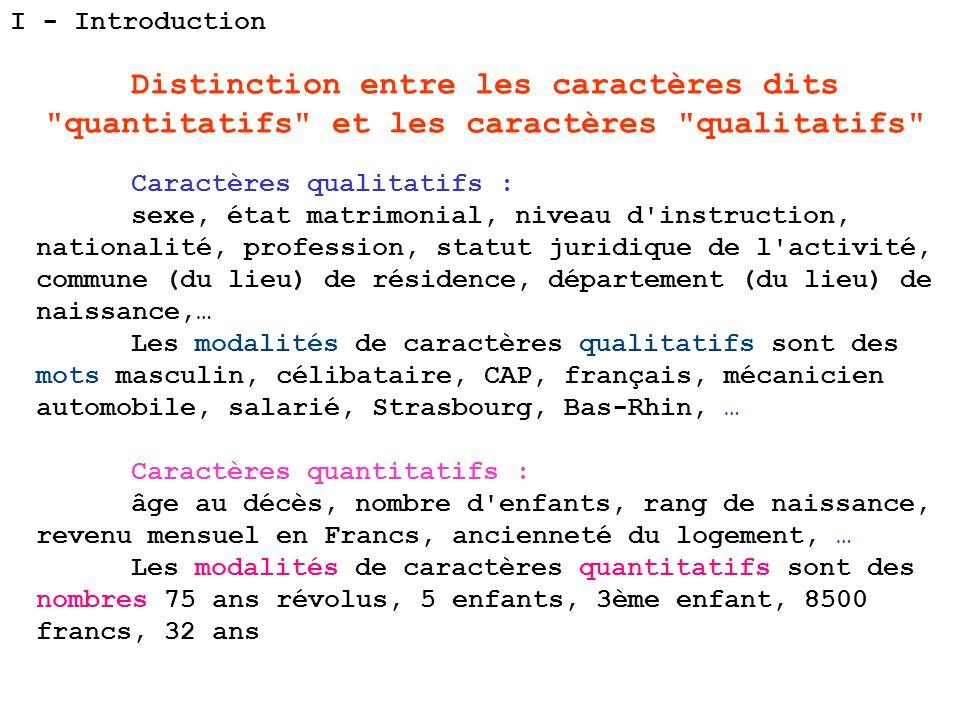 I - Introduction Distinction entre les caractères dits quantitatifs et les caractères qualitatifs