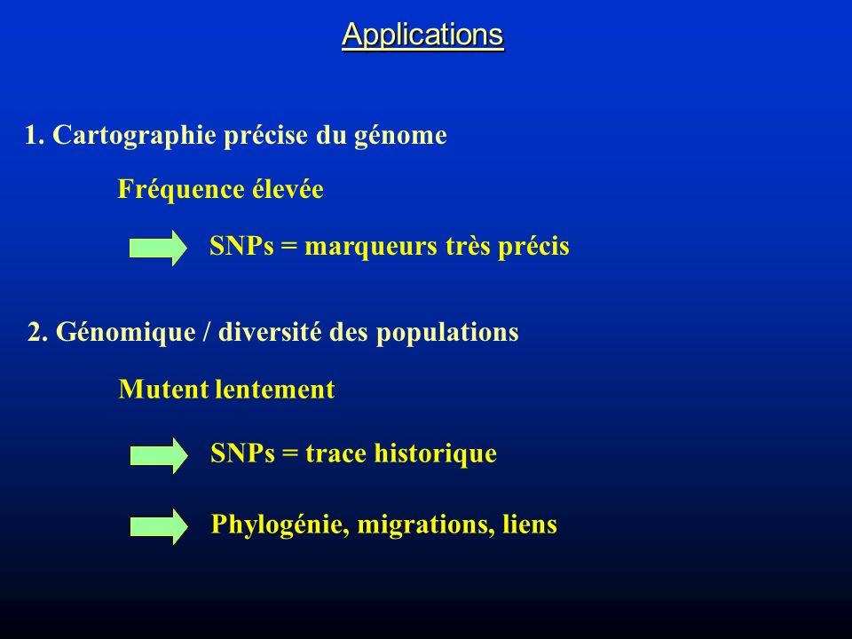 Applications 1. Cartographie précise du génome Fréquence élevée