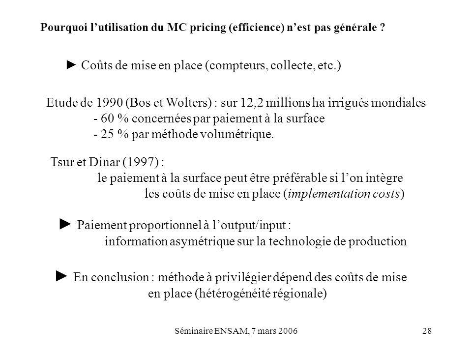 ► Paiement proportionnel à l'output/input :