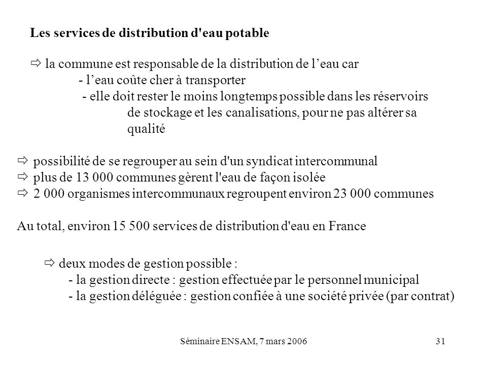 Les services de distribution d eau potable