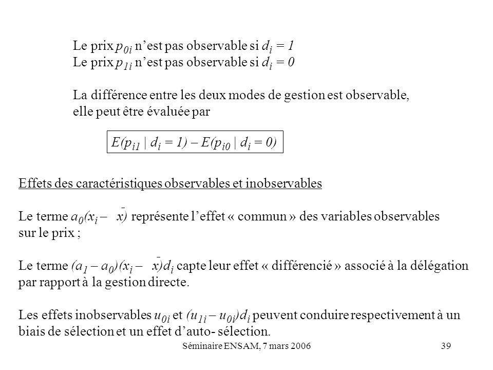 Le prix p0i n'est pas observable si di = 1