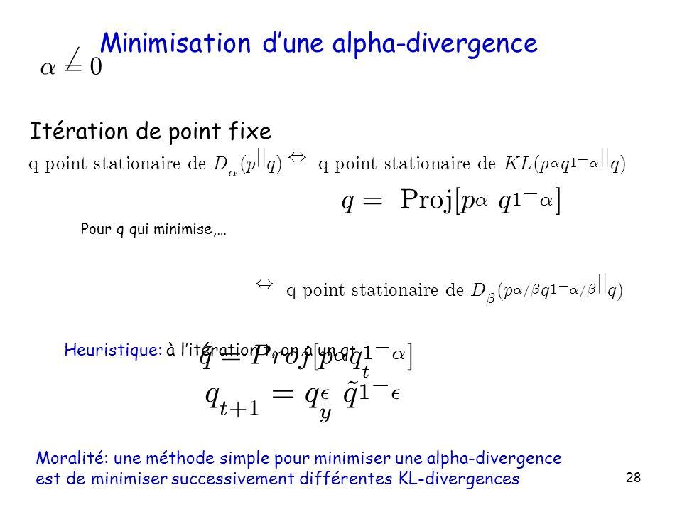 Minimisation d'une alpha-divergence