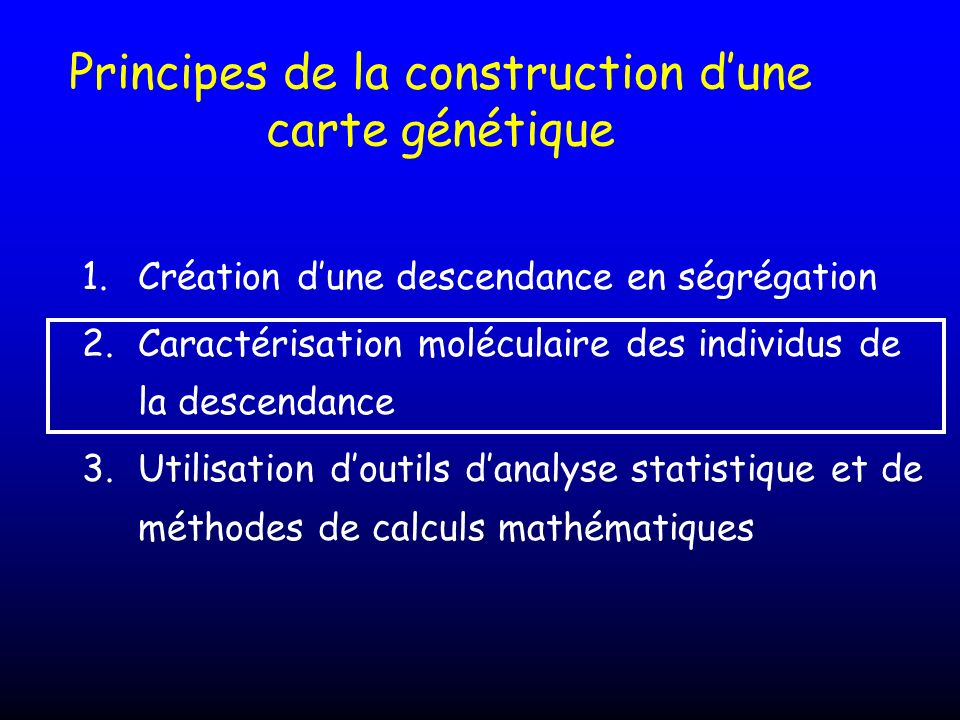Principes de la construction d'une carte génétique