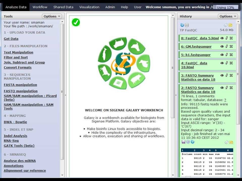 Galaxy objectives are : First, making bioinfo Linux tools accessible to biogists. Then, it is possible to add Linux tools by developpers into Galaxy workbench. Then, Galaxy is used to hide the complexity of the infrastructure and to allow creation, execution and sharing of workflows. To access to Galaxy, you need to have an LDAP Genotoul login and password.