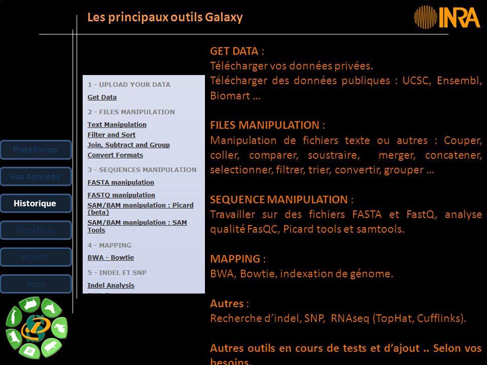 Les principaux outils Galaxy