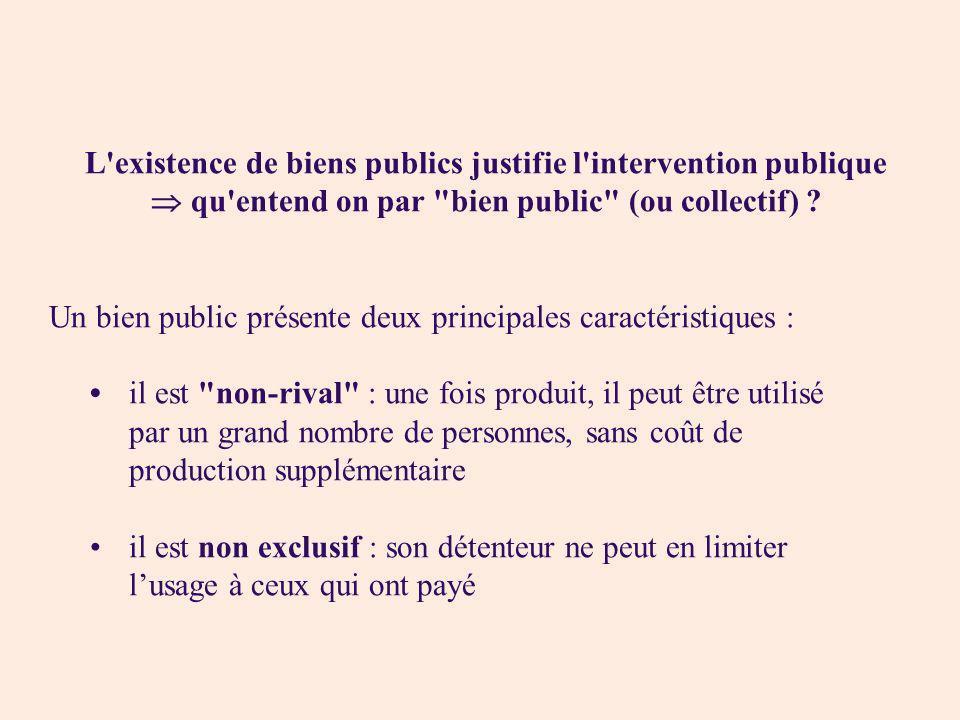 L existence de biens publics justifie l intervention publique