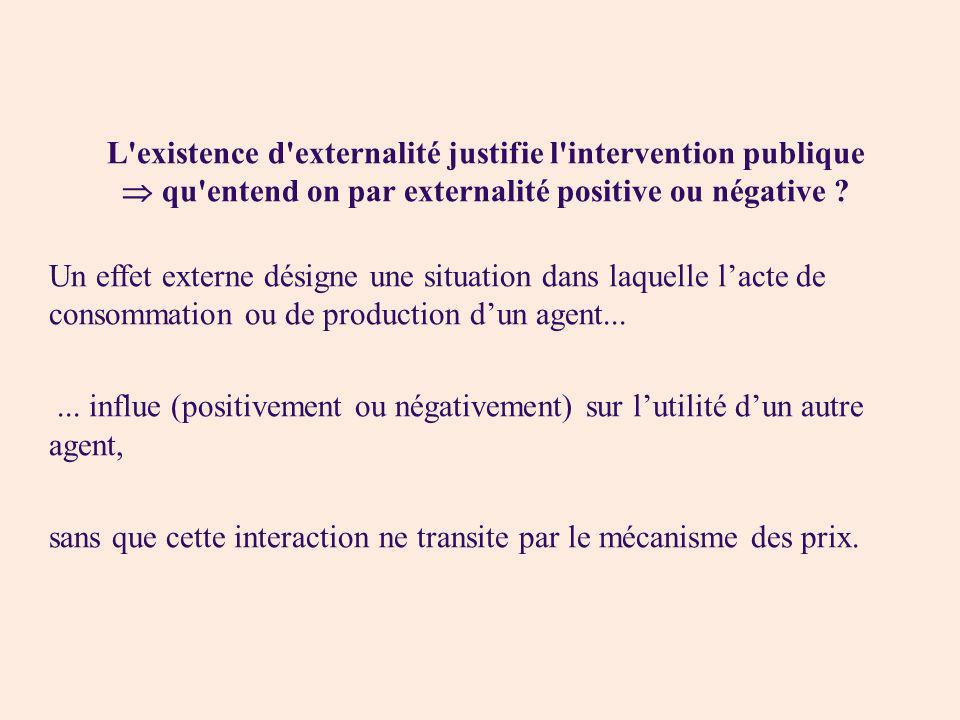 L existence d externalité justifie l intervention publique