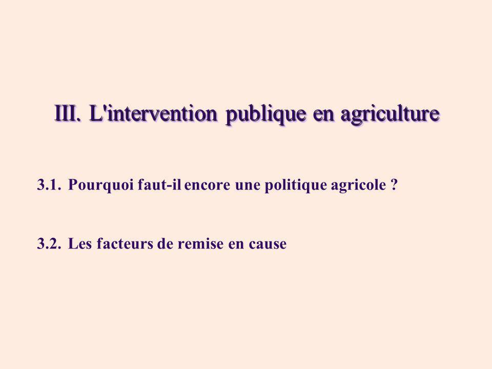 III. L intervention publique en agriculture
