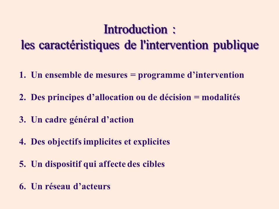 Introduction : les caractéristiques de l intervention publique