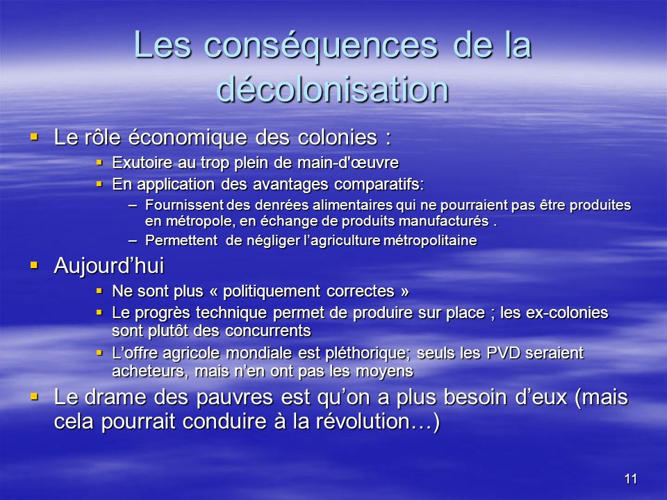 Les conséquences de la décolonisation