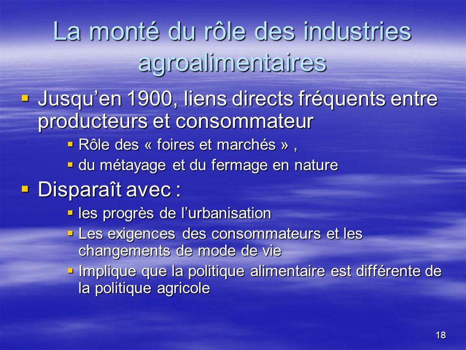 La monté du rôle des industries agroalimentaires