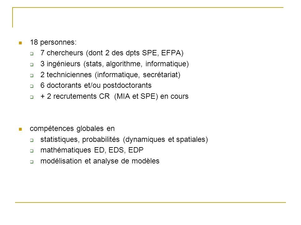 18 personnes: 7 chercheurs (dont 2 des dpts SPE, EFPA) 3 ingénieurs (stats, algorithme, informatique)