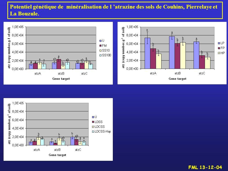 Potentiel génétique de minéralisation de l 'atrazine des sols de Couhins, Pierrelaye et La Bouzule.