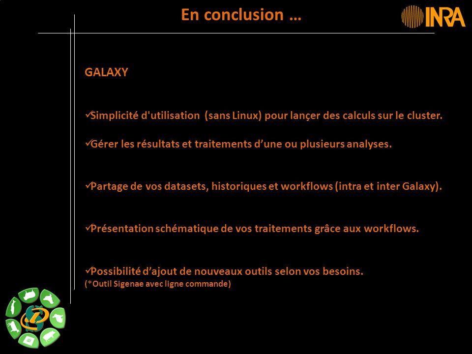 En conclusion … GALAXY. Simplicité d utilisation (sans Linux) pour lançer des calculs sur le cluster.