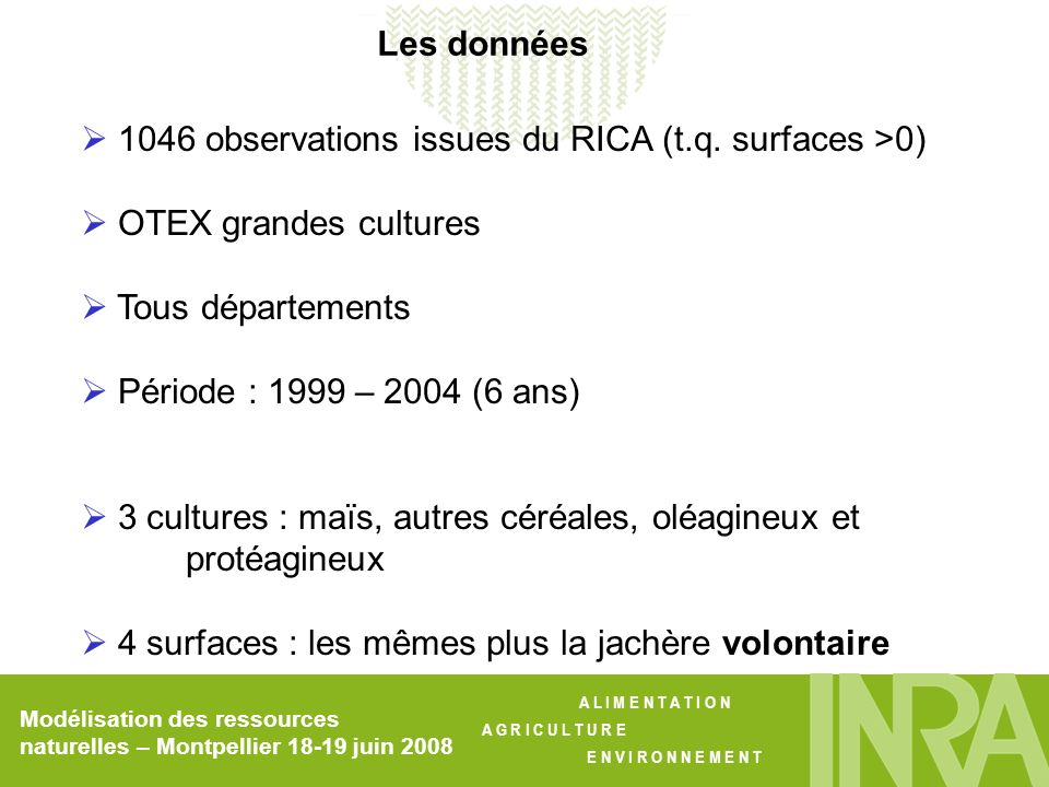 1046 observations issues du RICA (t.q. surfaces >0)