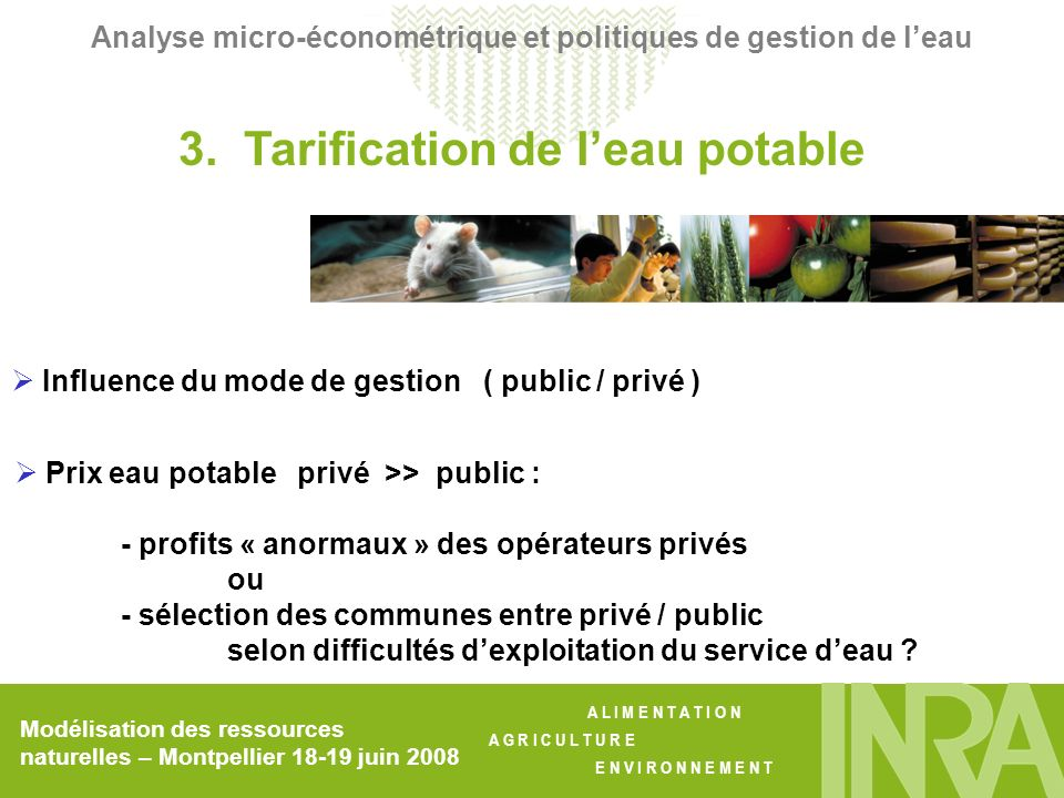 3. Tarification de l'eau potable