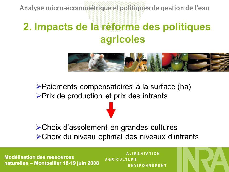 2. Impacts de la réforme des politiques agricoles