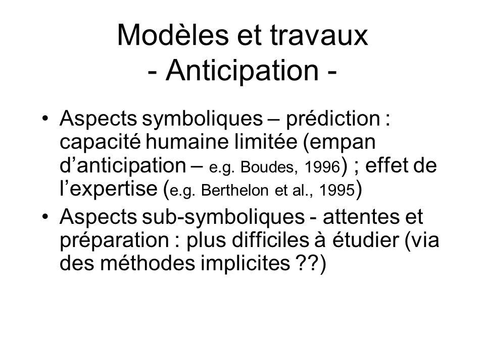Modèles et travaux - Anticipation -