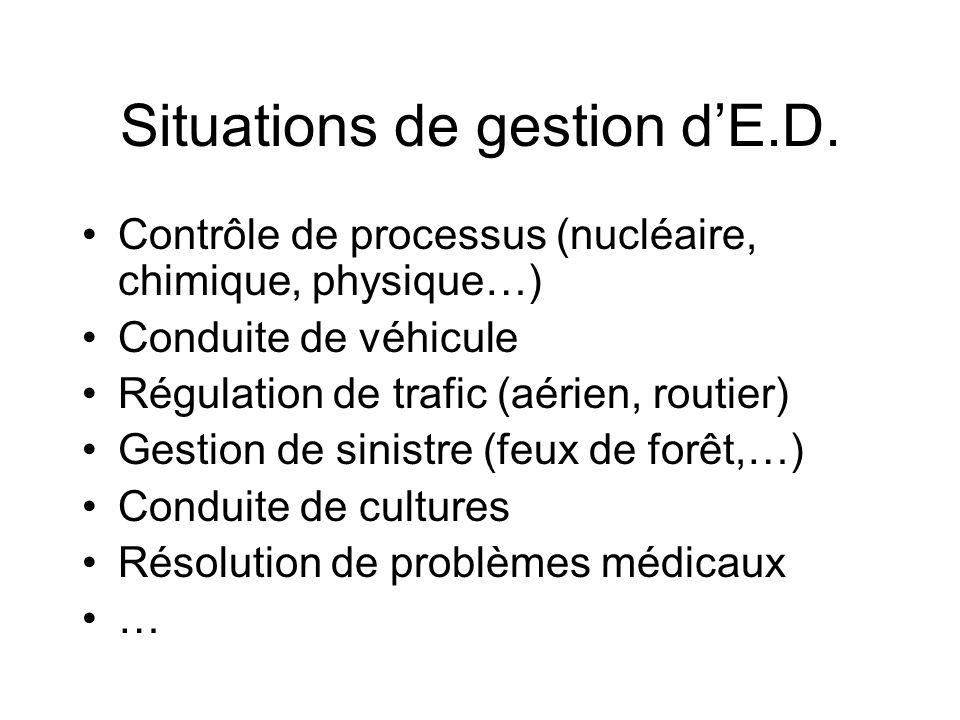 Situations de gestion d'E.D.