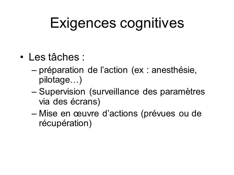 Exigences cognitives Les tâches :