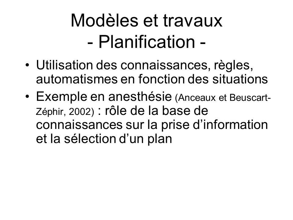 Modèles et travaux - Planification -