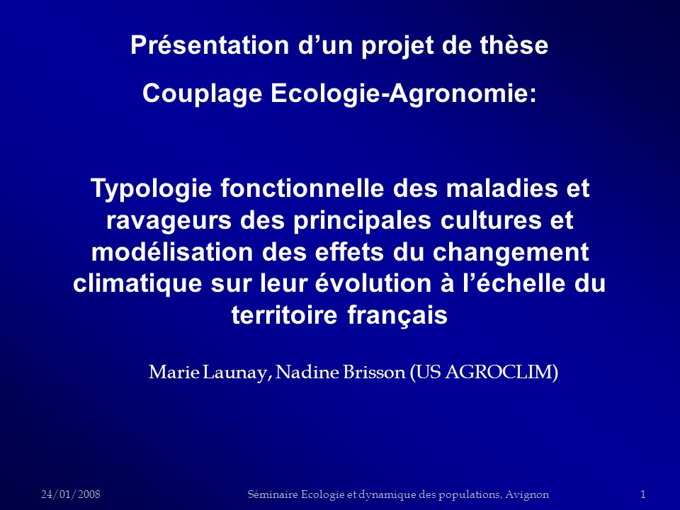 Marie Launay, Nadine Brisson (US AGROCLIM)