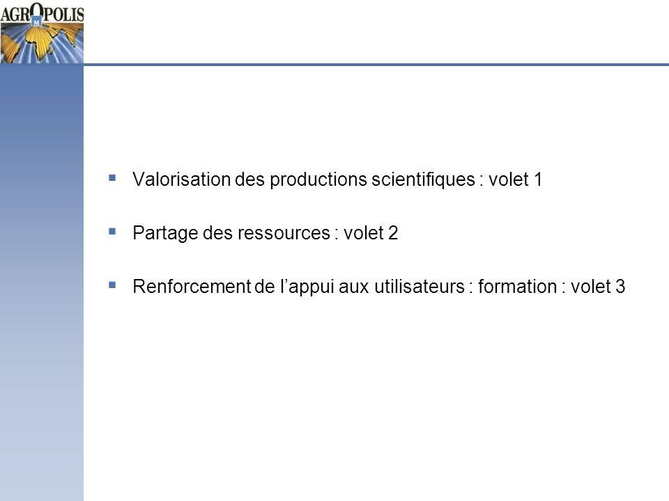Valorisation des productions scientifiques : volet 1