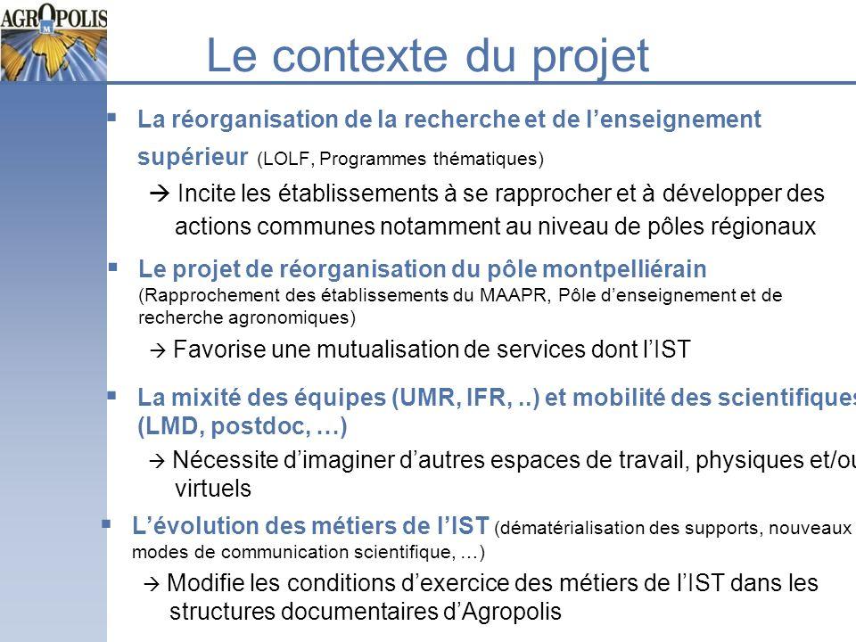 Le contexte du projetLa réorganisation de la recherche et de l'enseignement supérieur (LOLF, Programmes thématiques)