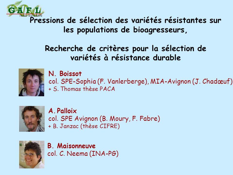 Pressions de sélection des variétés résistantes sur les populations de bioagresseurs, Recherche de critères pour la sélection de variétés à résistance durable