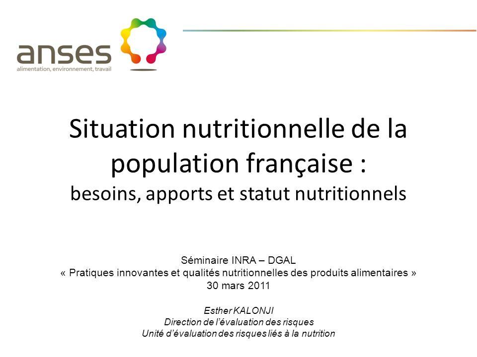 Situation nutritionnelle de la population française : besoins, apports et statut nutritionnels