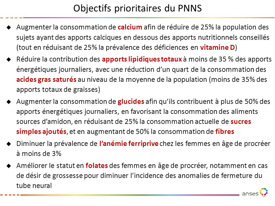 Objectifs prioritaires du PNNS