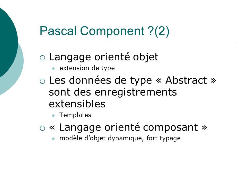 Pascal Component (2) Langage orienté objet