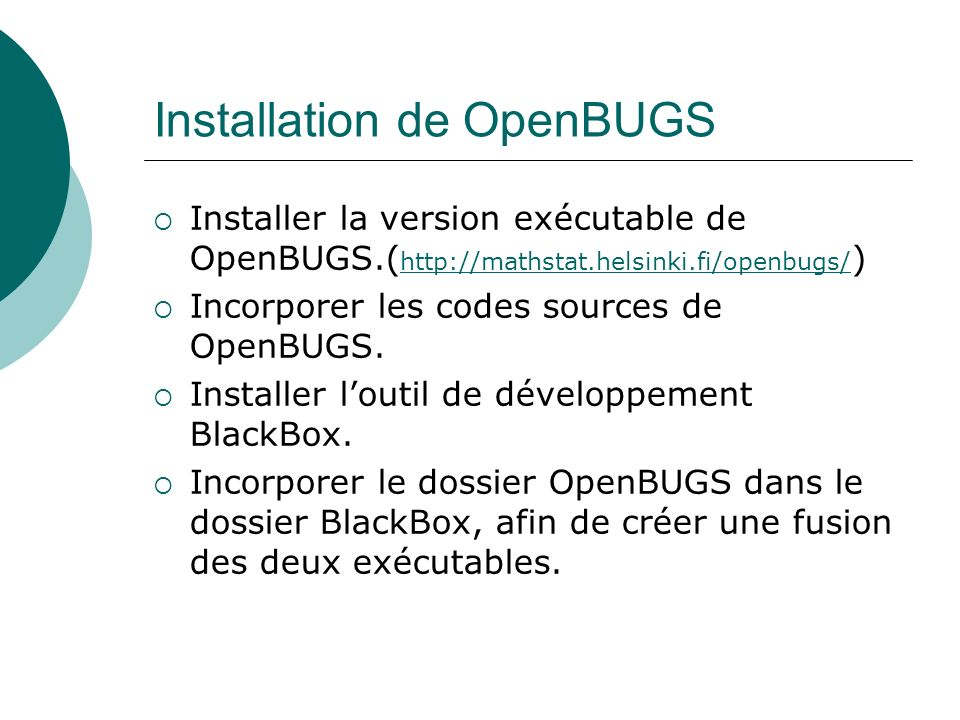 Installation de OpenBUGS