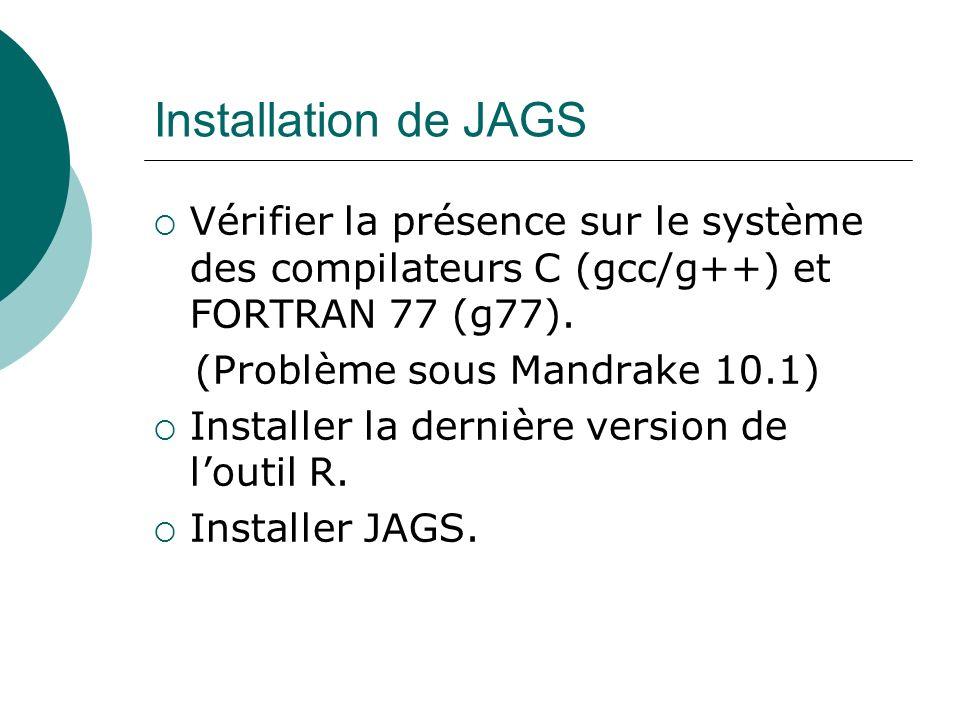 Installation de JAGS Vérifier la présence sur le système des compilateurs C (gcc/g++) et FORTRAN 77 (g77).