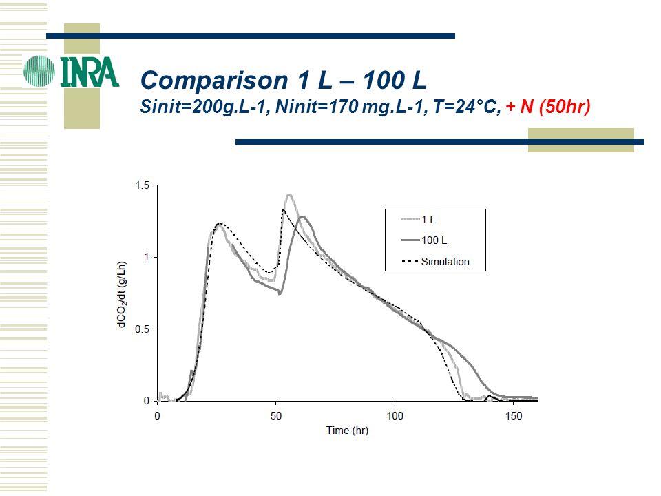 ICBF 2004 Comparison 1 L – 100 L Sinit=200g.L-1, Ninit=170 mg.L-1, T=24°C, + N (50hr)