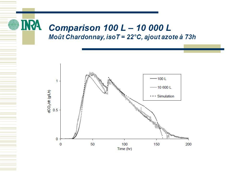 ICBF 2004 Comparison 100 L – 10 000 L Moût Chardonnay, isoT = 22°C, ajout azote à 73h