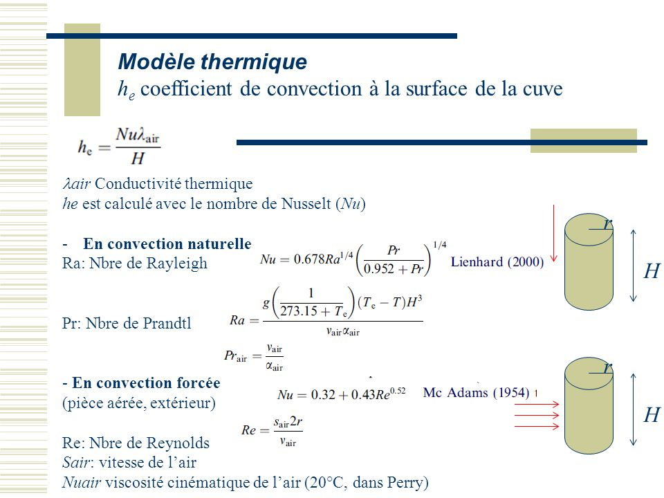 he coefficient de convection à la surface de la cuve