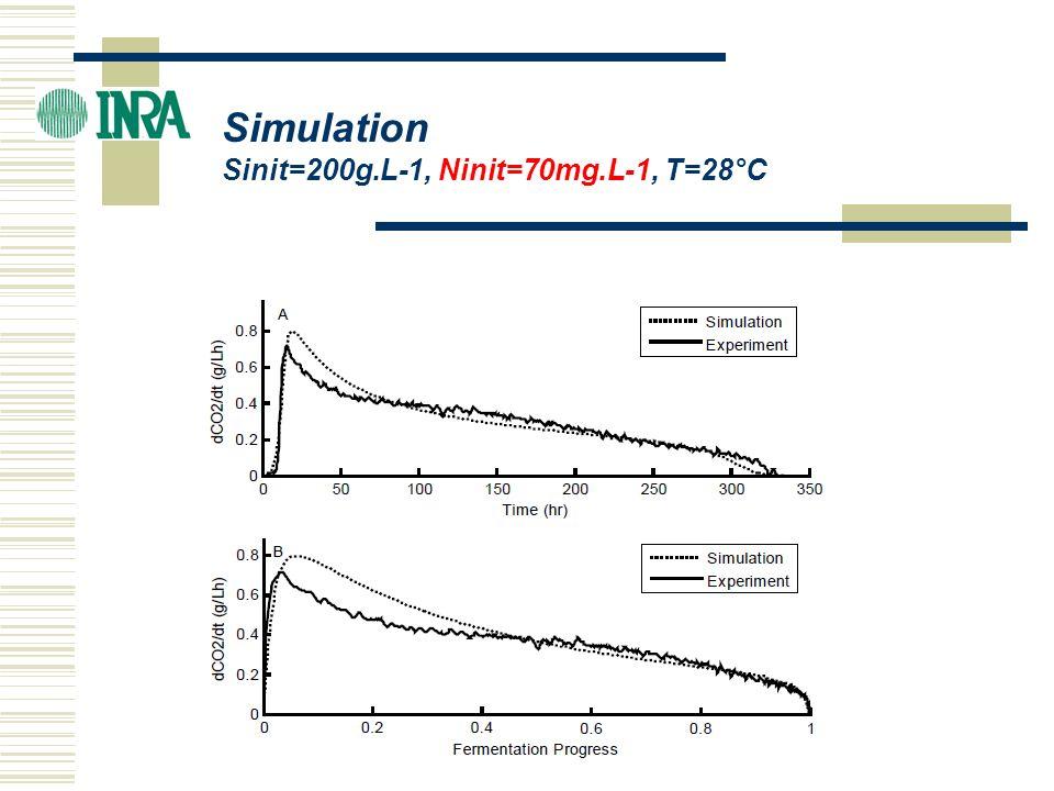 ICBF 2004 Simulation Sinit=200g.L-1, Ninit=70mg.L-1, T=28°C