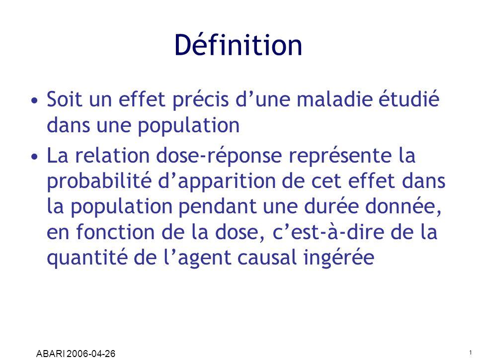 Définition Soit un effet précis d'une maladie étudié dans une population.